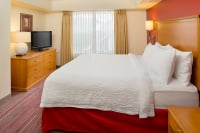 King size luxury bedding at Contemporary Short Term Housing Residence Inn Suite